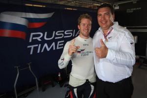 Mazepa (right) with leading GP2 Series driver Sam Bird. © Sam Bloxham/LAT Photographic.