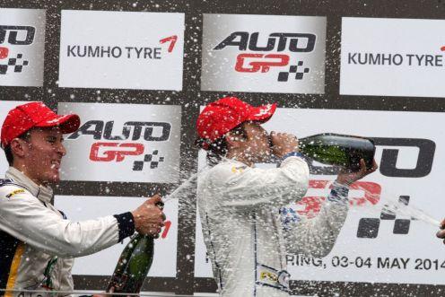 Sato celebrates another victory. © Auto GP WS.