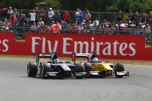Evans won the Feature Race battle against Palmer. © GP2 Series Media Services.