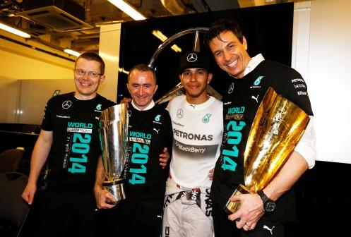 The Mercedes team also won the Constructors. ©2014 MERCEDES AMG PETRONAS Formula One Team