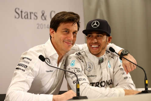 Hamilton with Mercedes team boss Toto Wolff. © MERCEDES AMG PETRONAS Formula One Team.