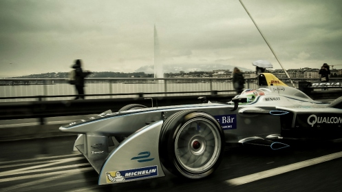 Simona de Silvestro driving the Formula E car through the streets of Geneva. © Formula E Holdings.