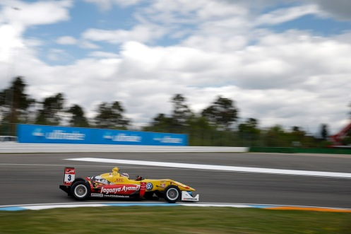 Giovinazzi (seen here during Free Practice) took his first 2015 win on Friday at Hockenheim. © FIA F3 Media Services.