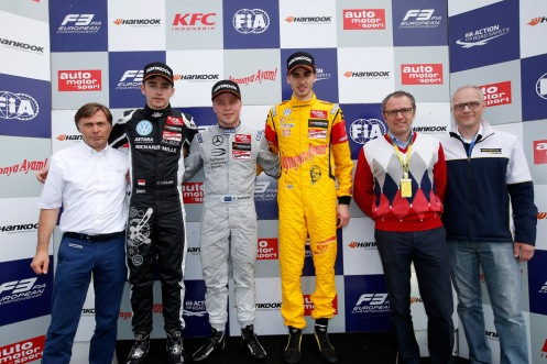 The winner was flanked by Charles Leclerc and Antonio Giovinazzi on the podium. © FIA F3 Media Services.